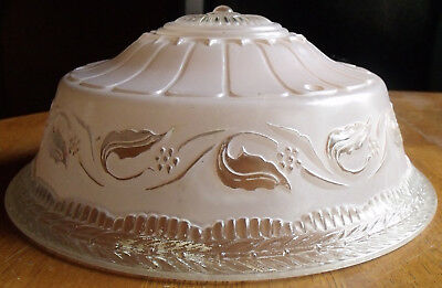 Vintage Art Deco Pink 3 Chain Glass Dome Hanging Ceiling Lamp Light Shade