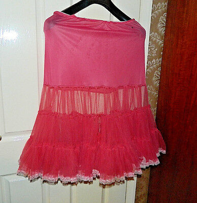 "Vintage genuine Pink layered lace underskirt ""Rockabilly"" style circa 1950"