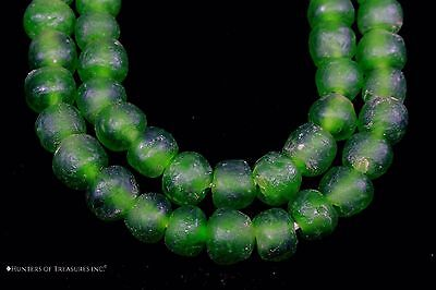 Strand of African Green Recycled Glass Beads from Ghana Africa