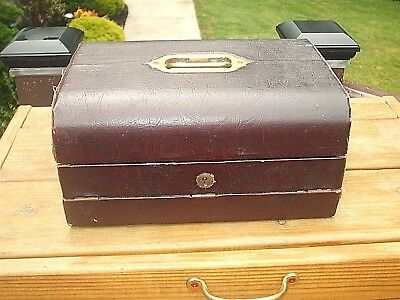 19th/20th C Vintage Mappin Webb Travel Writing Desk Wood Leather Covered w/Key