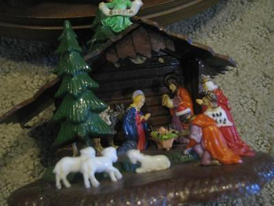 Vintage Nativity Scene Plastic Ornament Stand-alone Hong Kong Shiny Brite 4""
