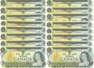 Bank of Canada 1973 $1 One Dollar Lot of 16 Consecutive Notes GEM UNC EAJ Prefix