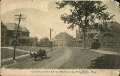 Northampton,MA West Street,Forbes Library,Plymouth Inn Hampshire County Postcard