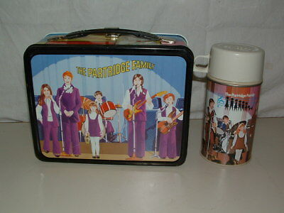 1971  Tin-Litho Metal Thermos The Parttridge Family Lunchbox And Thermos Bottle