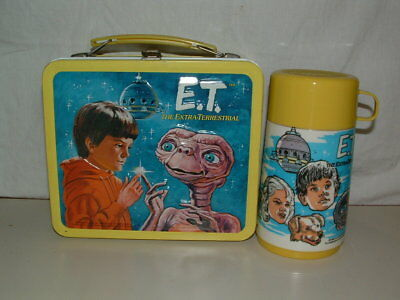1982 Embossed Tin-Litho Metal Aladdin E.t. Extra Terrestrial  Lunchbox, Thermos
