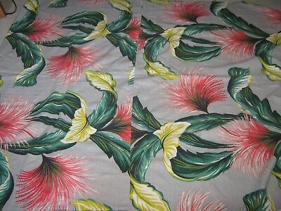 Vtg Zomba Barkcloth Fabric Tropical/feathers, Grey, Signed,remnant 1930S/40S