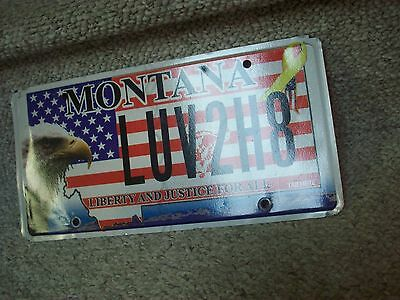 A++ Nr Mint *1980* Montana Luv2H8 Vanity Eagle-Flag License Plate  Love To Hate