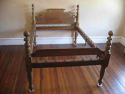 "Victorian Rope Bed Wood High Headboard For Custom Mattress 71"" x 48"" Antique"