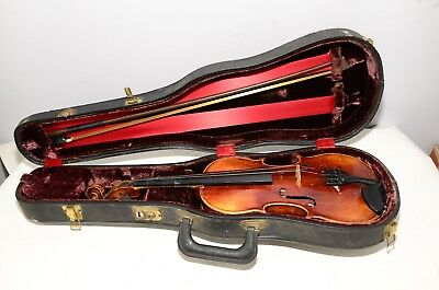 Antique John Juzek Violin Made In Germany Size 1/2 With Roth Glasser Bow & Case
