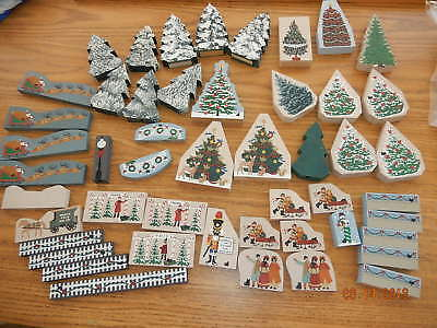 Lot of 49 pcs The CAT'S MEOW Wooden Shelf Sitters CHRISTMAS ACCESSORIES, TREES