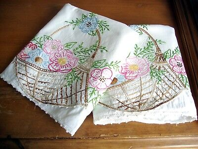 Vintage Embroidered Flowers Pillowcases Cotton w/ Hand Crocheted Trim Gorgeous!