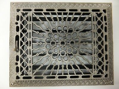 Antique Cast Iron floor wall heat Heating air Grate Vent Register Louvre 11x14