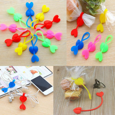 2 X Heart Silicone Food Bag Sealing Clip Tie Beam Port Bundled Cable Cord Holder