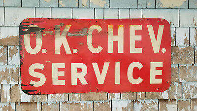 "Large 48x24"" Antique OK Chevy Service Heavy Metal Sign 1950's Chevrolet Vintage"