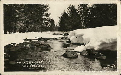 RPPC Westwood,MA Winter Scene-Stream with Rocks and Snow-Covered Banks Postcard