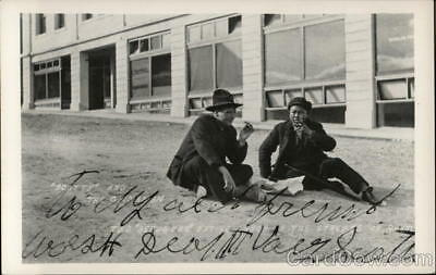 """RPPC Rhyolite,NV """"Scotty"""" and the Chinaman-Two """"refugees"""" sitting in the str"""