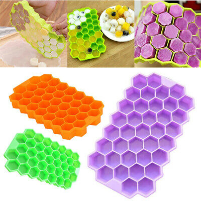Honeycomb Shape Ice Cube 37 Cubes Ice Tray Ice Cube Mold Storage Containers