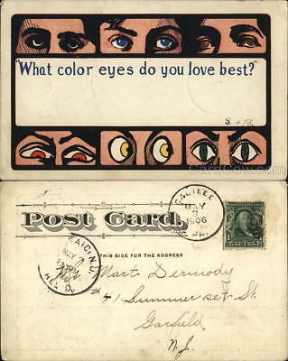 Romance 1906 What color eyes do you love best? 1c stamp