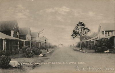 Old Lyme,CT G Street,Hawks Nest Beach New London County Connecticut Postcard