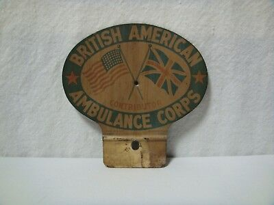 Vintage WWII British American Ambulance Corp License Plate Badge Topper Tin BWRS
