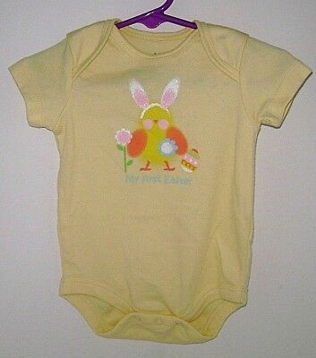 """""""Topsville"""" 3-6 Months Baby Girls """"My First Easter"""" Yellow S/S Body Suit Romper!"""