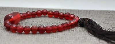 Striking Vintage Chinese Red Prayer Beads Made Of Natural Resin & Antique Glass