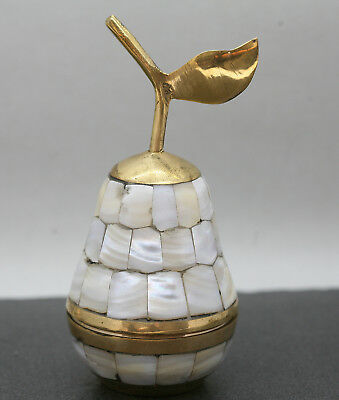 Lovely Hand Crafted Pear Container Made Of Brass & Mother Of Pearl Circa 1980s