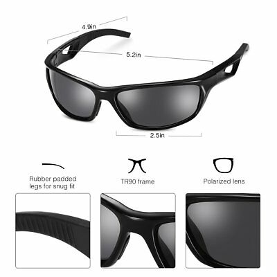 Polarized Sports Sunglasses with TR90 Unbreakable Frame US STOCK