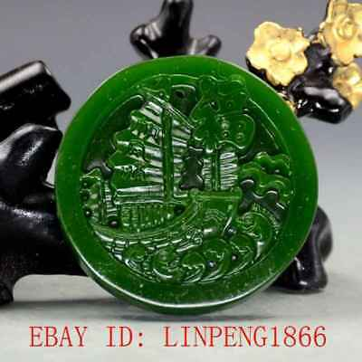 Chinese Natural Green Hetian Jasper Jade Hand Carved Sailboat Pendant
