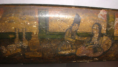 Antique 1800`S Qajar Arabic Islamic Qalamdan Pen Box  Lacquer Paper Mache