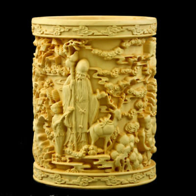 Chinese Boxwood Carved three gods of happiness&longevity&Prosperity Brush pot