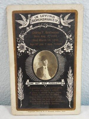 Antique 1923 Death Funeral Picture Cabinet Card H.F. Wendell Leipsic Ohio