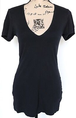 James Perse Standard Women's Supima Cotton Double Layer Front Black Tee, Size 2