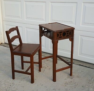 1940s Antique Wood Telephone Table and Chair