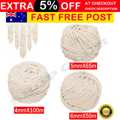 4/5/6mm Macrame Rope Natural Beige Cotton Twisted Cord Artisan Hand Craft New AU