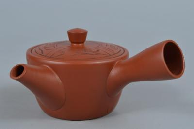 R319: Japanese Tokoname-ware Brown pottery Poetry sculpture TEAPOT Kyusu Sencha