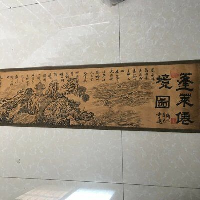 """chinese old paper painting """"penglai fairyland""""  scroll painting mural b01"""