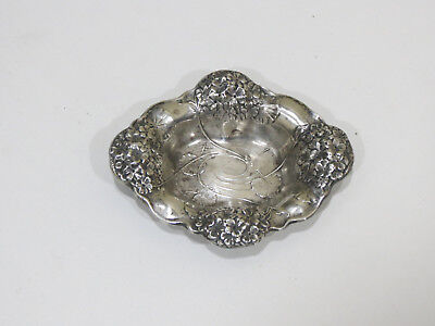 Antique Sterling Silver Ornate Embossed Small Dish or Tray