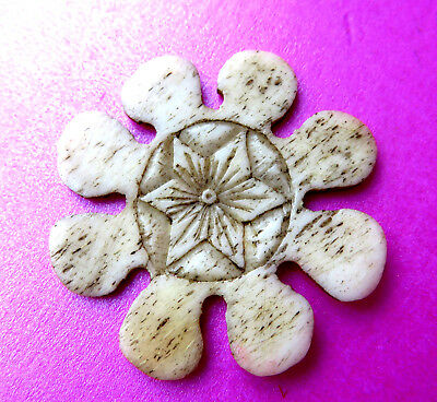 Antque Large Carved Cow Bone Flower Design  Sewing Thread Winder.