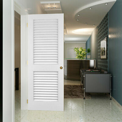 "Solid Pine Louvered Slab Interior Door 80"" H x 28"" W x 1.38"" D White"