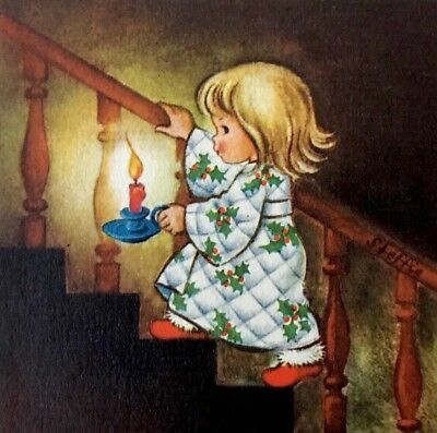Girl PJs Red Slippers Candlestick Stairway Vintage XMAS Card BROWNIE Unused