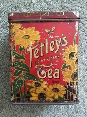 TIN: VINTAGE ENGLISH TETLEY'S TEA Hinged Lid Sunflowers 1/2 lb - See all photos