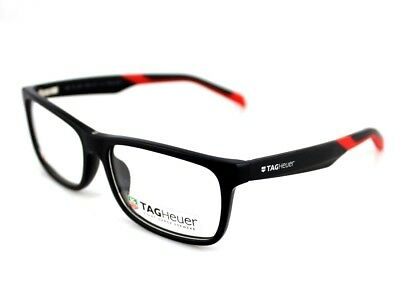 RARE New Authentic TAG HEUER Matte Black Red EYE Glasses Frame TH 0551 005 57mm