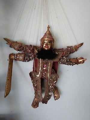 Vintage Asian Marionette Puppet Ornate Gold Beaded Four Armed Immortal w Sword