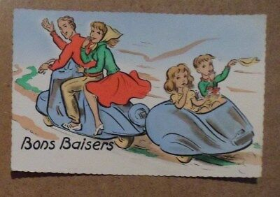 Carte Postale Ancienne  Scooter Bons Baisers