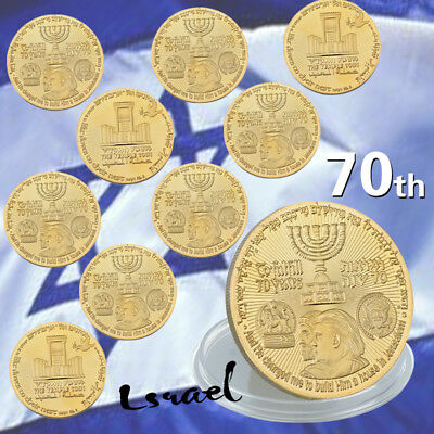 USA 70th Anniversary Gold Plated Commemorative Coin Jewish Temple Jerusalem Israel Gold