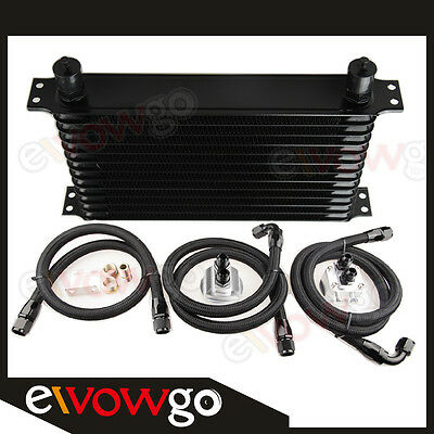 13 ROW ENGINE OIL COOLER ALUMINUM +RELOCATION KIT+3x NYLON COVER BRAIDED LINES