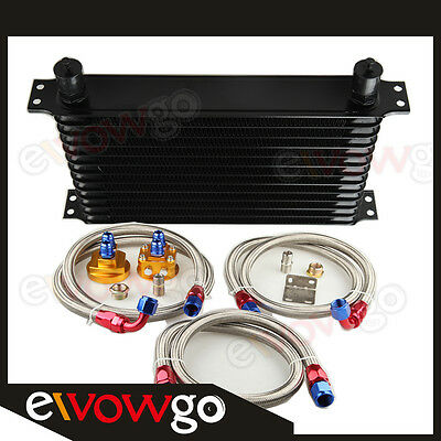 13 Row Engine Oil Cooler Aluminum Turbo+Relocation Kit+Ss Double Braided Lines