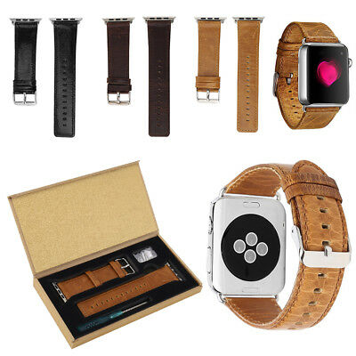 Correa de pulsera de cuero genuino Adaptador para Apple Watch iWatch 42mm Nuevo