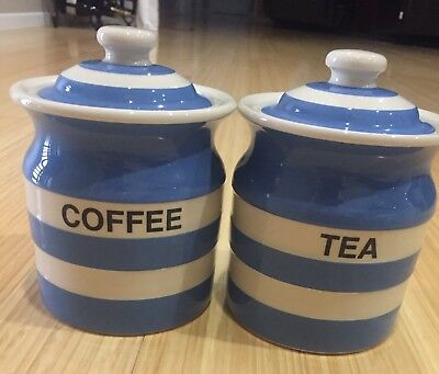 T G Green Cornishware Coffee & Tea Canisters. New Condition. Never Used